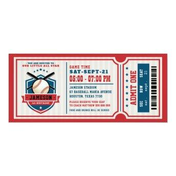 Red Vintage Baseball Ticket Birthday Invitation