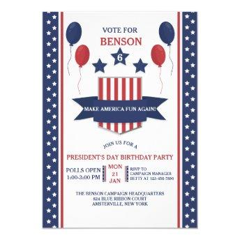 Red White and Blue Presidents' Day Invitation