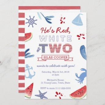 Red White and TWO unisex Second Birthday Party Invitation