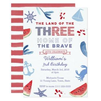 Red White Blue 3rd Birthday Shoreline Party Invitation