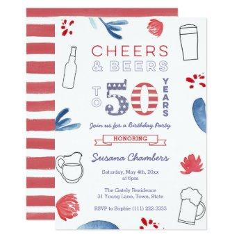 Red White Blue 50th Birthday Party Invitation