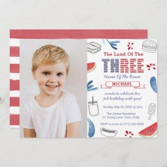 Red White Blue Cookout 3rd Birthday Party Picture Invitation