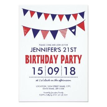 RED WHITE BLUE COUNTRY BUNTING BIRTHDAY