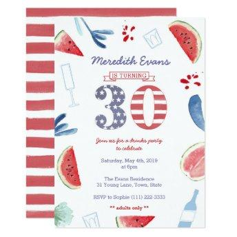 Red White Blue Drinks Party for 30th Birthday Invitation