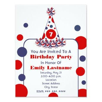 Red White & Blue Polka Dot Birthday Party Hat