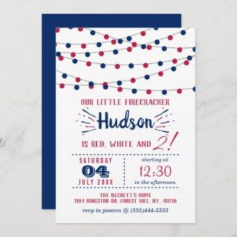 Red, White & Two! 4th Of July 2nd Birthday Party Invitation