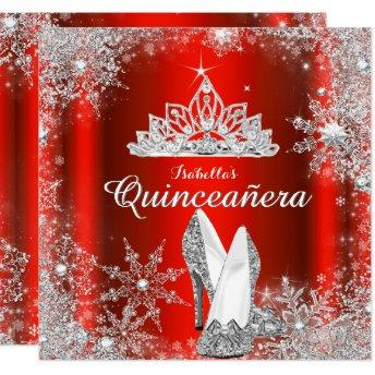 Regal Red Quinceanera Silver Tiara 15th Birthday