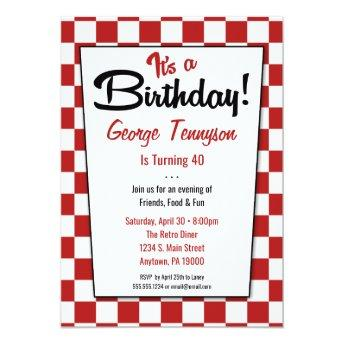 Retro 1950s Diner Red White Birthday Invitation