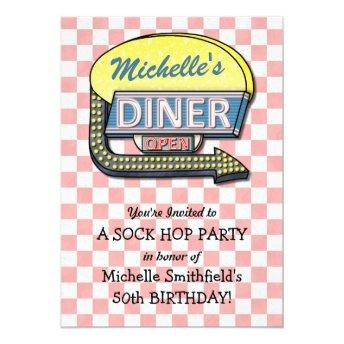 Retro 50s Diner Sock Hop Birthday Party Theme Invitation