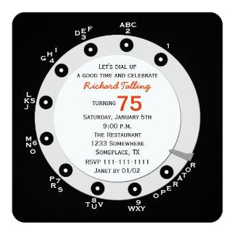 Retro 75th Birthday Party Invitation Rotary Dial