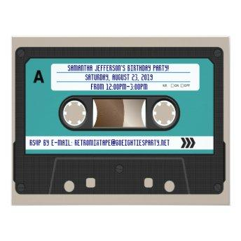 Retro 80s Cassette Mixtape Personalized Invitation