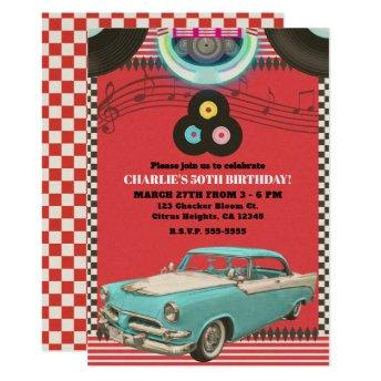 Retro Fifties Vintage Classic Car 50's 50 Party Invitation