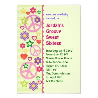 Retro Groovy Sweet Sixteen Invitation