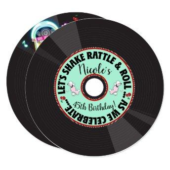 Retro Record 1950'S 50'S Fifties Birthday Party Invitation