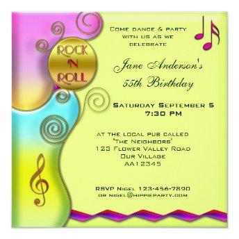Retro Rock 'n Roll Birthday Party Invitation