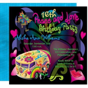 Retro Sixties Peace and Love 16th Birthday Party Invitation