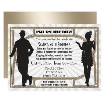 Roaring 20s art deco flapper girl and gangster