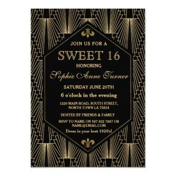 Roaring 20s Great Gatsby Art Deco Sweet 16 Party Invitation