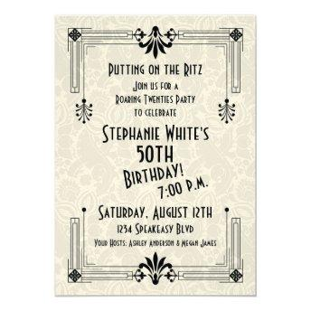 Roaring 20s Twenties Art Deco 50th Birthday Party Invitation
