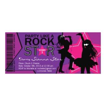 Rock Star Girl Band Birthday Purple Pink