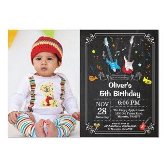 Rock Star Guitar Birthday Invitation Music Boy