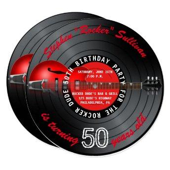 Rocker Dude Guitar Record 50th Birthday Party Invitation