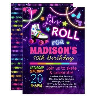 Roller Skating Girls Rainbow Neon Birthday Party Invitation