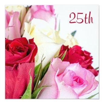 Romantic Bouquet Of Roses 25th Birthday