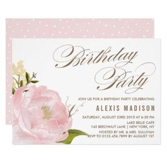 Romantic Watercolor Peony Flower Birthday Party
