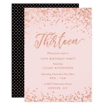 Rose Gold 13th Birthday Party  Faux Foil