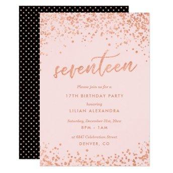 Rose Gold 17th Birthday  | Faux Foil