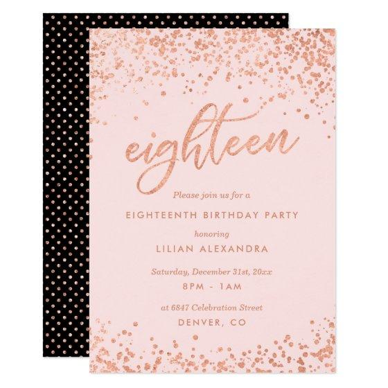 Rose Gold 18th Birthday Invitation Faux Foil Birthday Party