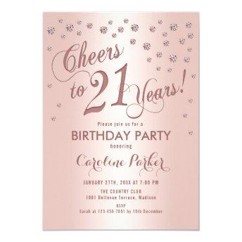 Rose Gold 21st Birthday Party Invitation