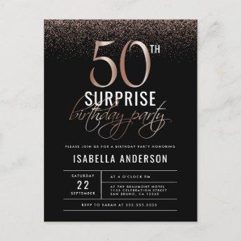 Rose Gold and Black Surprise 50th Birthday Party Invitation PostInvitation