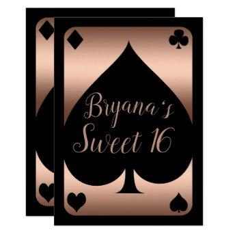 Rose Gold & Black Spade Glam Casino Sweet 16 Party Invitation