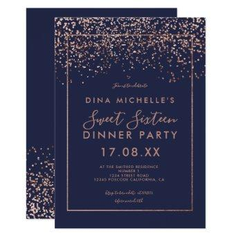 Rose gold confetti navy blue script Sweet 16 Invitation