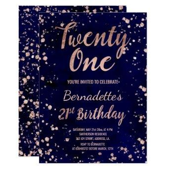 Rose gold confetti navy watercolor 21st Birthday Invitation