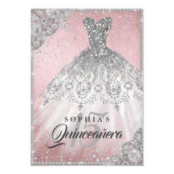 Rose Gold Diamond Lace Sparkle Gown Quinceanera Invitation