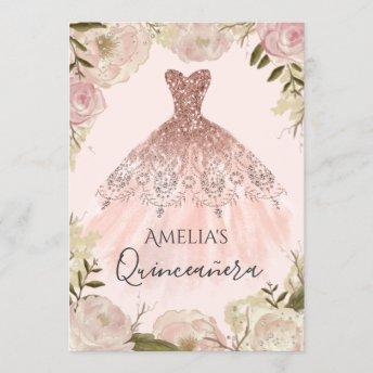 Rose Gold Dress Floral Rose Quinceanera Invite