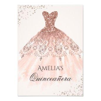 Rose Gold Dress Sparkle Quinceanera