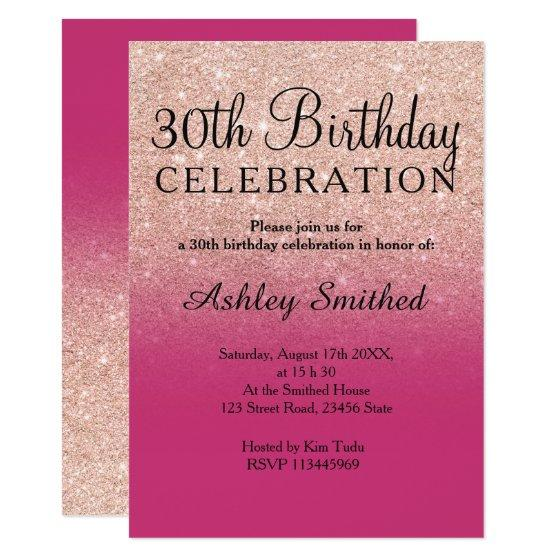 190 Rose Gold Faux Glitter Magenta Ombre 30th Birthday Invitation