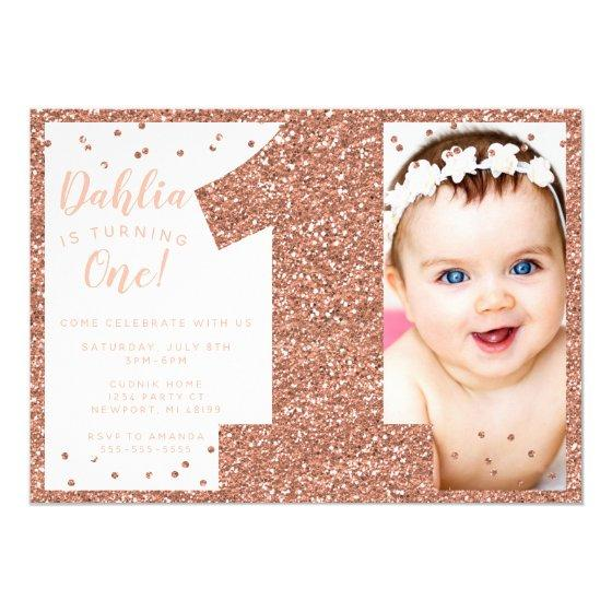 205 Rose Gold First Birthday Invitation Faux Glitter