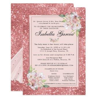 Rose Gold Floral Quinceañera Birthday Invitation
