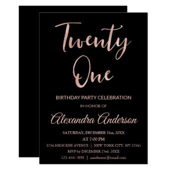 Rose Gold Foil Twenty One 21st Birthday Invitation