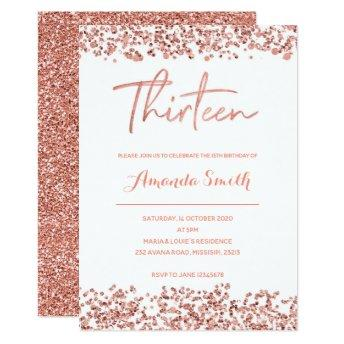 Rose gold glitter 13th Birthday Invitation