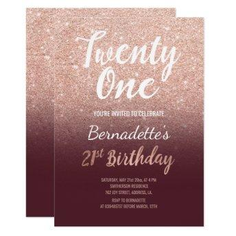Rose gold glitter burgundy ombre 21st Birthday Invitation