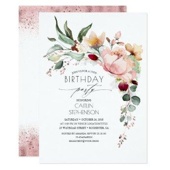 Rose Gold Glitter Elegant Floral Birthday Invitation