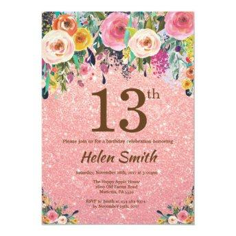 Rose Gold Glitter Pink Floral 13th Birthday Invitation