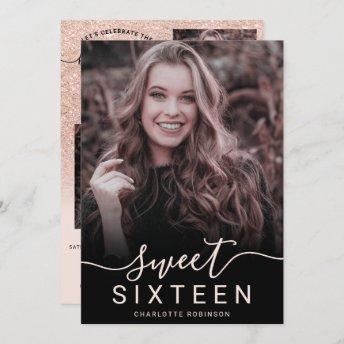 Rose gold glitter pink ombre 5 photos sweet 16 invitation