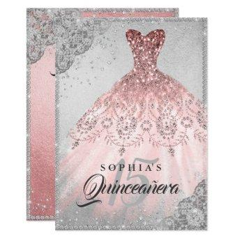 Rose Gold Silver Diamond Sparkle Gown Quinceanera Invitation